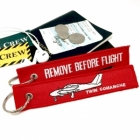 Twin Comanche Airplane Remove Before Flight tag keychain