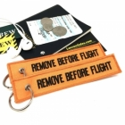 Remove Before Flight Amber color tag keychain