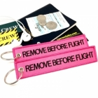 Remove Before Flight Pink color tag keychain