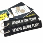 Remove Before Flight Black color tag keychain