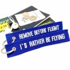 I'd Rather by Flying Remove Before Flight Neon color tag keychain