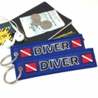 Diver Blue oxygen tank and bag tag keychain