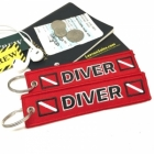 Scuba Diving Diver Red oxygen tank and bag tag keychain