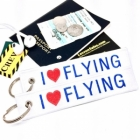 I Love (Heart) Flying Original White Remove Before Flight luggage bag tag keychain