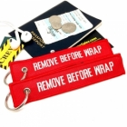 Remove Before Wrap, USS Enterprise, USS Voyager, Star Trek Borg Humour Funny luggage bag tag keychain