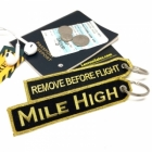 Mile High Club Golden Remove Before Flight luggage bag tag keychain
