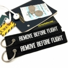 Remove Before Flight Black color luggage bag tag keychain