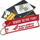 Air India airline Fight attendant Cabin cockpit crew luggage bag tag keychain