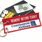 Continental Airlines airline Fight attendant Cabin cockpit crew luggage bag tag keychain