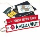 America West REMOVE BEFORE FLIGHT attendant pilot luggage bag tag keychain
