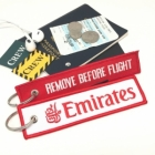 Emirates Airline REMOVE BEFORE FLIGHT attendant pilot luggage bag tag keychain