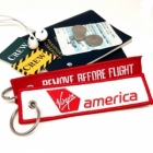 Virgin America REMOVE BEFORE FLIGHT attendant pilot luggage bag tag keychain