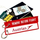 Austrian Airlines REMOVE BEFORE FLIGHT attendant pilot luggage bag tag keychain