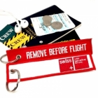 Swiss International Air Lines REMOVE BEFORE FLIGHT attendant pilot luggage bag tag keychain