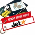 JETStar REMOVE BEFORE FLIGHT attendant pilot luggage bag tag keychain