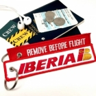 IBERIA Líneas Aéreas de España REMOVE BEFORE FLIGHT attendant pilot luggage bag tag keychain