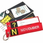 N November Tag w/ name card on back Flight Attendant pilot cabin crew luggage bag tag keychain