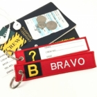 B Bravo Tag w/ name card on back Flight Attendant pilot cabin crew luggage bag tag keychain
