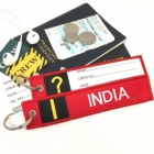 I India Tag w/ name card on back Flight Attendant pilot cabin crew luggage bag tag keychain