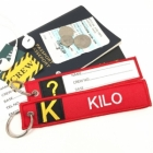 K Kilo Tag w/ name card on back Flight Attendant pilot cabin crew luggage bag tag keychain