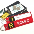 R Romeo Tag w/ name card on back Flight Attendant pilot cabin crew luggage bag tag keychain