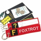 F Foxtrox Tag w/ name card on back Flight Attendant pilot cabin crew luggage bag tag keychain