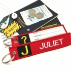 J Juliet Tag w/ name card on back Flight Attendant pilot cabin crew luggage bag tag keychain