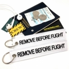 White Black Remove Before Flight attendant pilot luggage bag tag keychain