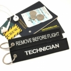 TECHNICIAN Remove Before Flight attendant pilot luggage bag tag keychain