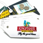 Kingfisher airline Real Luggage Style tag with back slot for ID Flight Attendant Cabin Crew Cockpit Pilot Crew Authentic Equipment